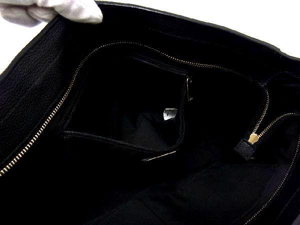 1円 ■美品■ FURLA フルラ レザー ゴールド金具 トートバッグ ショルダーバッグ 肩掛け 手提げかばん レディース ブラック系 S3052オn_画像9
