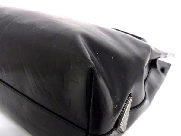 1円 PRADA プラダ パテントレザー 型押し シルバー金具 トートバッグ ハンドバッグ 手提げかばん レディース ブラック系 S3444QN_画像7
