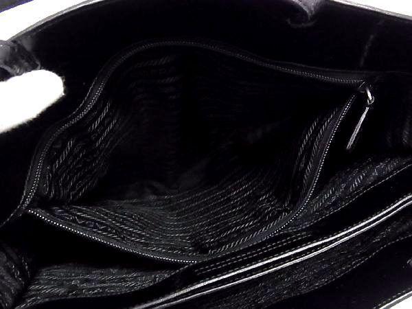 1円 PRADA プラダ パテントレザー 型押し シルバー金具 トートバッグ ハンドバッグ 手提げかばん レディース ブラック系 S3444QN_画像9
