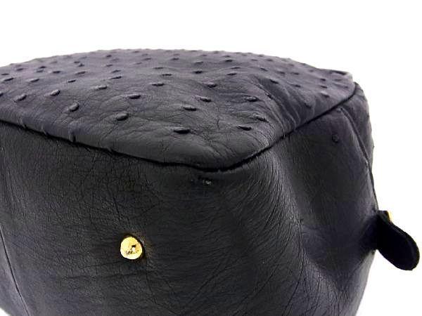 1円 ■極上■本物■美品■ オーストリッチ ゴールド金具 ハンドバッグ トートバッグ 手持ちかばん 手提げ レディース ブラック系 R1141sN_画像7