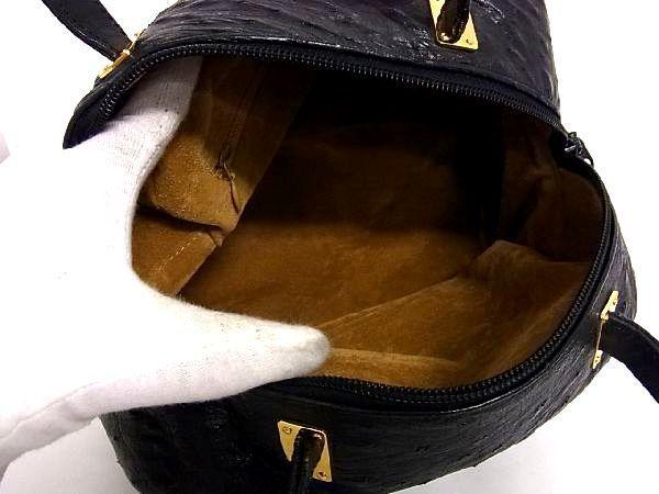 1円 ■極上■本物■美品■ オーストリッチ ゴールド金具 ハンドバッグ トートバッグ 手持ちかばん 手提げ レディース ブラック系 R1141sN_画像8