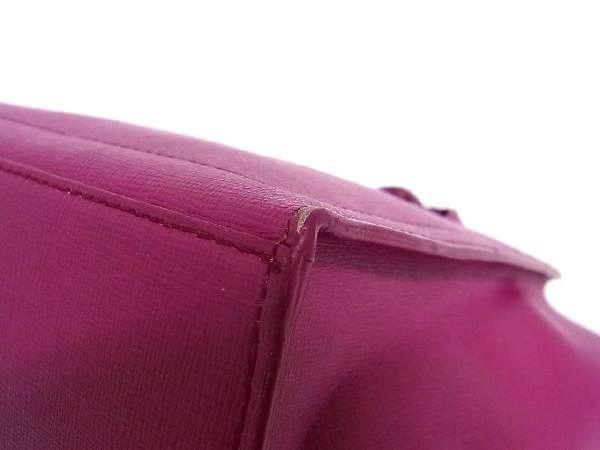 1円 FURLA フルラ レザー ロゴチャーム付き ゴールド金具 ハンドバッグ トートバッグ 手提げかばん レディース ピンク系 S3400Qh_画像7
