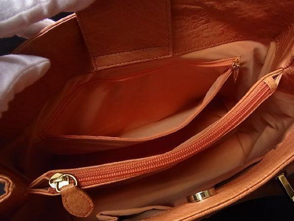 1円 ■極上■本物■美品■ オーストリッチ ゴールド金具 ハンドバッグ トートバッグ 手持ちかばん 手提げ レディース ブラウン系 R1189アN_画像9
