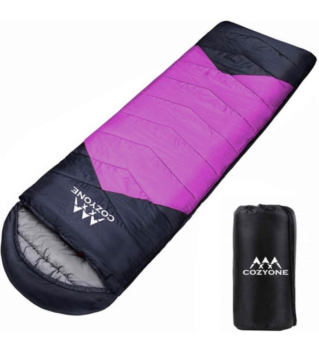 寝袋 シュラフ 封筒型 軽量 保温 210T防水 コンパクト アウトドア キャンプ 丸洗い可能 快適温度-5度-25度 950g