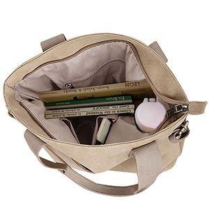 ショルダーバッグ トートバッグ キャンバス レディース 大容量 肩がけバッグ ママ 通勤 通学 ブラウン 送料無料