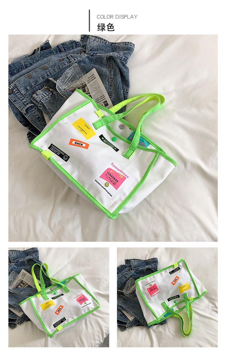 トートバッグ レディース カジュアル 韓流 ハンドバッグ 大容量 ショルダーバッグ キャンバス ショッピングバッグ エメラルドグリーン