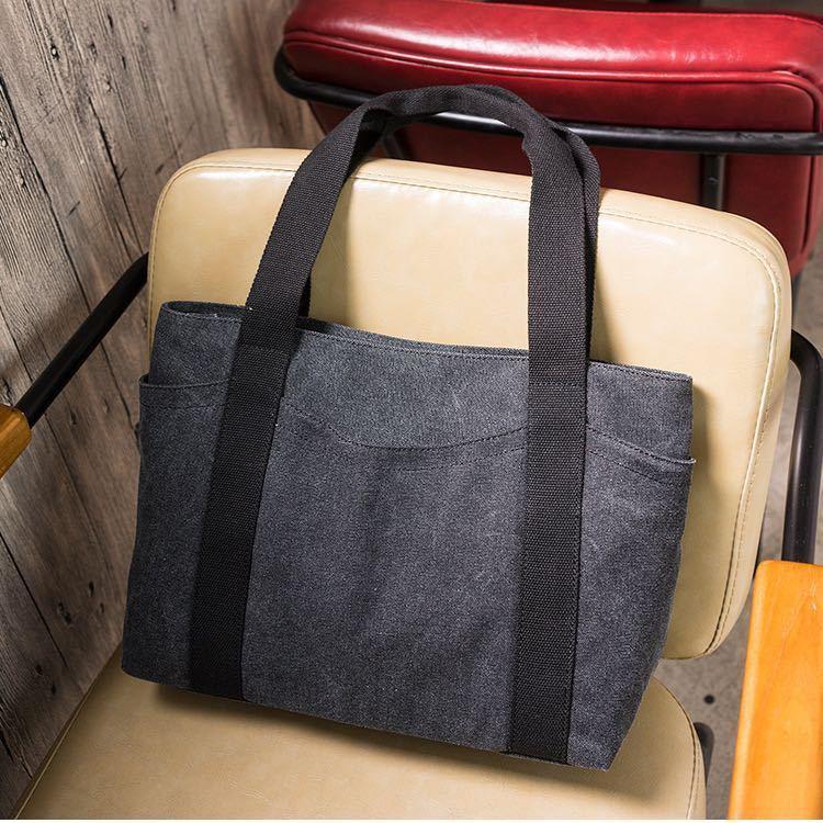 トートバッグ レディース キャンバス 大容量 帆布バッグ 2way 手提げバッグ 男女兼用 子供 オフィス 通勤 通学 習い事 送料無料 ブラック