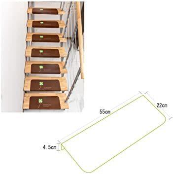 新品ブラウン 階段マット 吸着 蛍光 滑り止め キズ防止 防音 15枚入 (ブラウン)JR9H_画像2