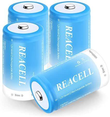 REACELL 単一充電池 充電式ニッケル水素電池 10000mAh高容量 電池 単1 4本セット 単1充電池 液漏れ防止 約1200回使用可能_画像1