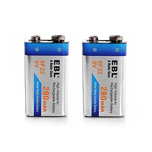 EBL 9V型充電式ニッケル水素電池 2個入り 280mAh 006P型 6p形充電池 角型乾電池_画像1