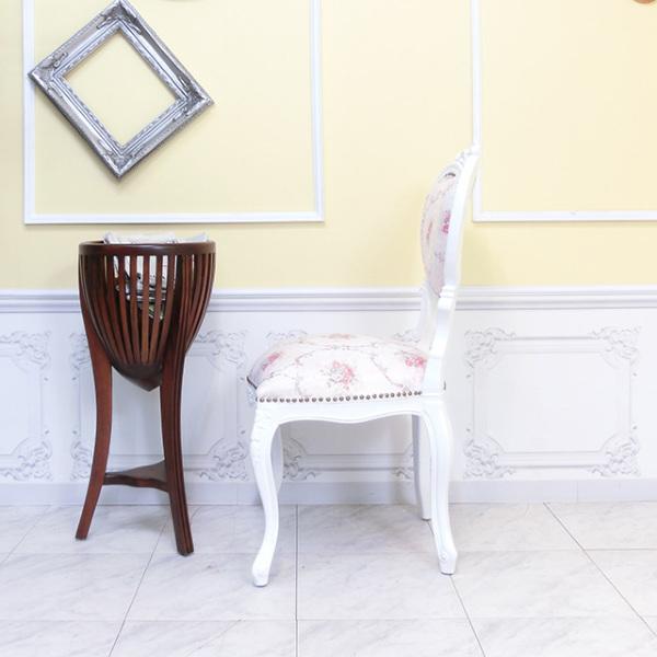 【送料無料】アンティーク調食卓椅子 猫脚 ダイニングチェア 姫系 白家具 ピンクホワイトフラワー ロココ調チェア 6087-F-18F116_画像6