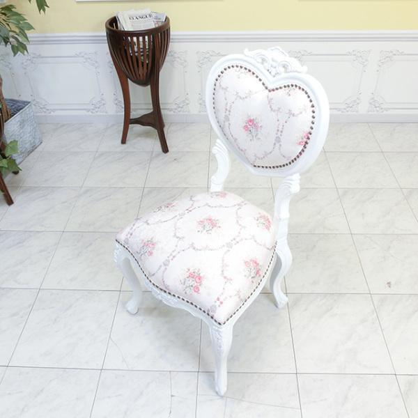 【送料無料】アンティーク調食卓椅子 猫脚 ダイニングチェア 姫系 白家具 ピンクホワイトフラワー ロココ調チェア 6087-F-18F116_画像2