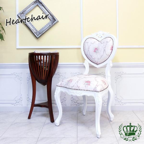 【送料無料】アンティーク調食卓椅子 猫脚 ダイニングチェア 姫系 白家具 ピンクホワイトフラワー ロココ調チェア 6087-F-18F116_画像1