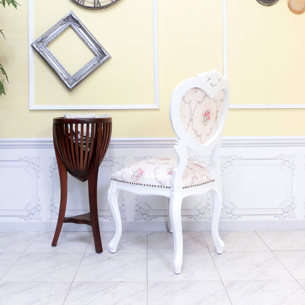 【送料無料】アンティーク調食卓椅子 猫脚 ダイニングチェア 姫系 白家具 ピンクホワイトフラワー ロココ調チェア 6087-F-18F116_画像5