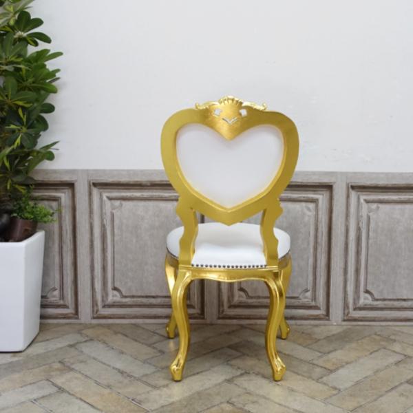 【送料無料】アンティーク調食卓椅子 猫脚 ダイニングチェア 本革 ホワイトレザー ゴールド ロココ調ハートチェア 6087-F-10L16_画像6