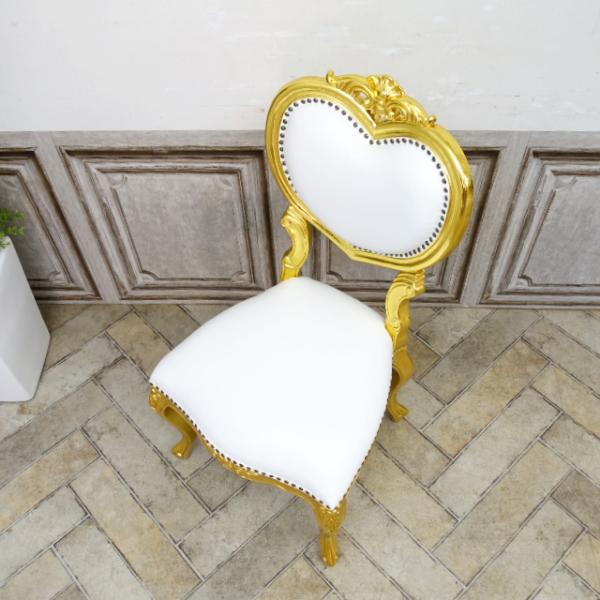 【送料無料】アンティーク調食卓椅子 猫脚 ダイニングチェア 本革 ホワイトレザー ゴールド ロココ調ハートチェア 6087-F-10L16_画像2