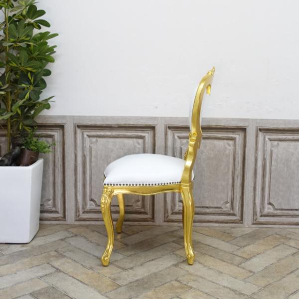 【送料無料】アンティーク調食卓椅子 猫脚 ダイニングチェア 本革 ホワイトレザー ゴールド ロココ調ハートチェア 6087-F-10L16_画像5