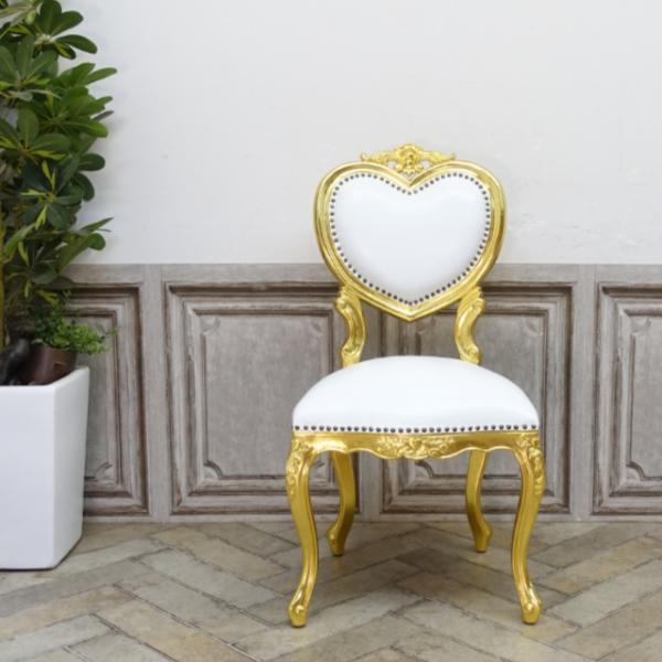 【送料無料】アンティーク調食卓椅子 猫脚 ダイニングチェア 本革 ホワイトレザー ゴールド ロココ調ハートチェア 6087-F-10L16_画像4