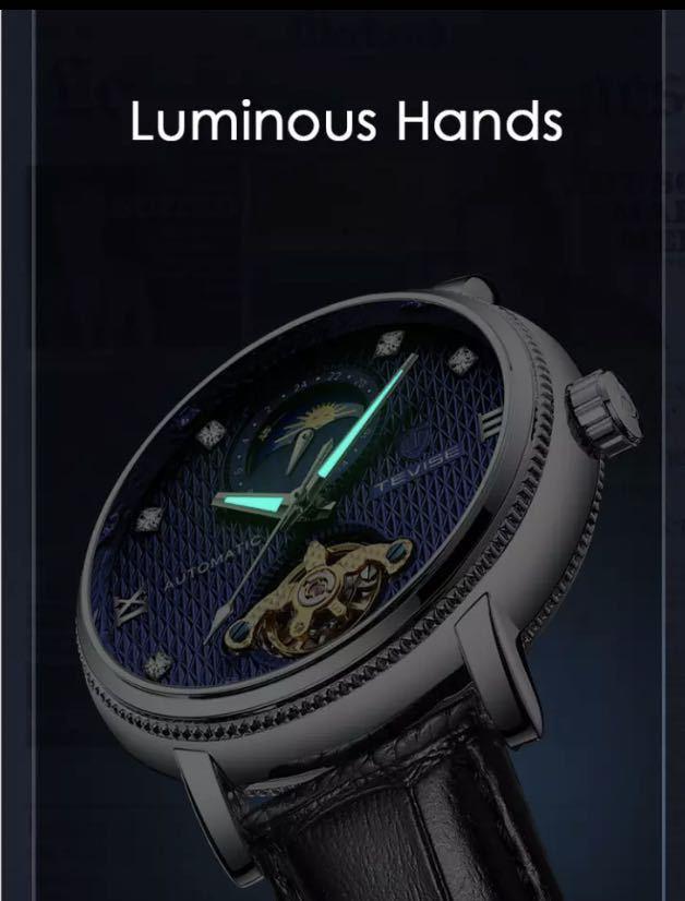 【最安値】メンズ高級腕時計 機械式 自動巻 トゥールビヨン ムーンフェイズ表示 本革ベルト 紳士 ビジネス 夜光 防水 ブラック_画像6