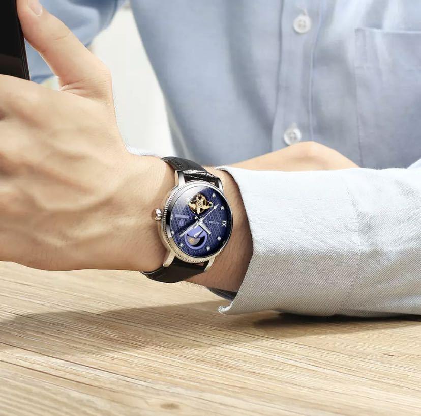 【最安値】メンズ高級腕時計 機械式 自動巻 トゥールビヨン ムーンフェイズ表示 本革ベルト 紳士 ビジネス 夜光 防水 ブラック_画像8