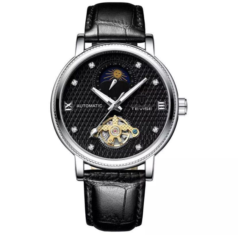 【最安値】メンズ高級腕時計 機械式 自動巻 トゥールビヨン ムーンフェイズ表示 本革ベルト 紳士 ビジネス 夜光 防水 ブラック_ブラック