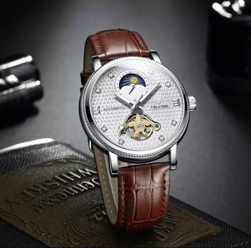 【最安値】メンズ高級腕時計 機械式 自動巻 トゥールビヨン ムーンフェイズ表示 本革ベルト 紳士 ビジネス 夜光 防水 ブラック_画像7