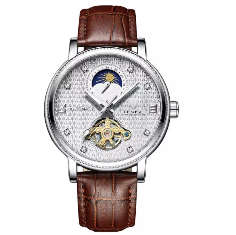 【最安値】メンズ高級腕時計 機械式 自動巻 トゥールビヨン ムーンフェイズ表示 本革ベルト 紳士 ビジネス 夜光 防水 ブラック_ホワイト