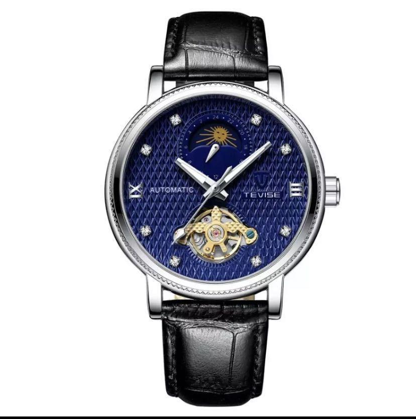 【最安値】メンズ高級腕時計 機械式 自動巻 トゥールビヨン ムーンフェイズ表示 本革ベルト 紳士 ビジネス 夜光 防水 ブラック_ブルー