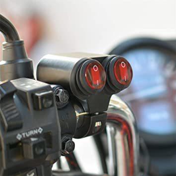 A HANSWD ヘッドライトフォグスポットライトON/OFFスイッチ 防水 12V 22mmハンドルバーオートバイ用 赤色イン_画像2