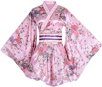 ピンク ワンサイズ セクシー 着物ドレス 花魁 コスプレ衣装 ショート丈 花柄 和服 コスチューム 浴衣 ナイトドレス (ピンク_画像1