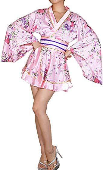 ピンク ワンサイズ セクシー 着物ドレス 花魁 コスプレ衣装 ショート丈 花柄 和服 コスチューム 浴衣 ナイトドレス (ピンク_画像2
