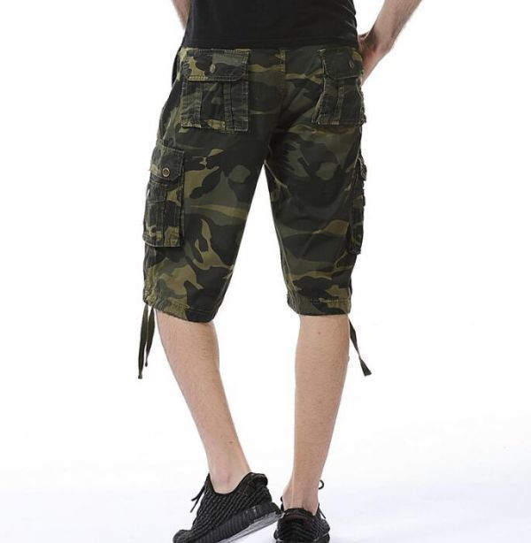 CHQ737#夏物メンズカーゴパンツ ショートパンツ ハーフパンツ 短パンワークパンツ ミリタリー パンツ 迷彩柄 夏物 作業着_画像5