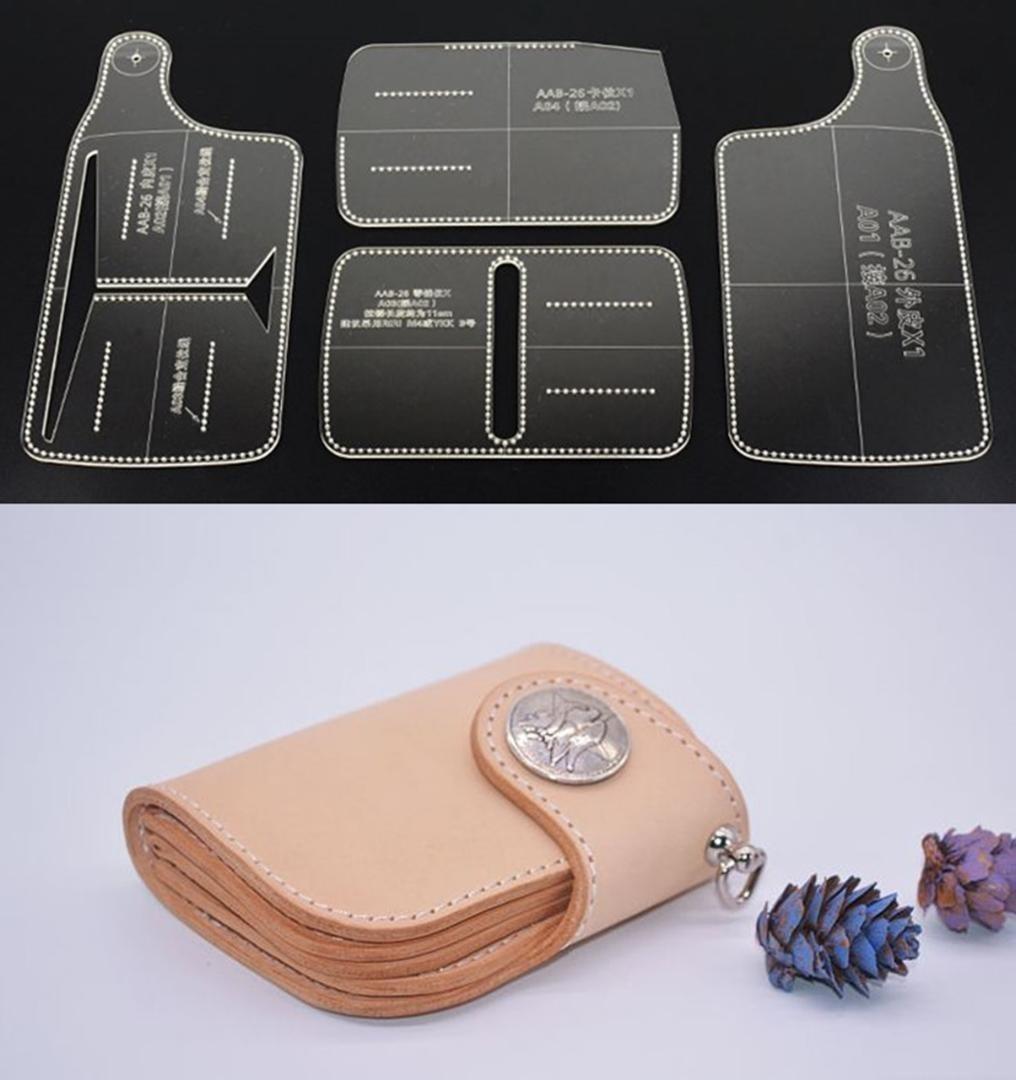 コンチョ 折りたたみ 小銭入れ財布 透明 アクリル型 レザークラフト型紙