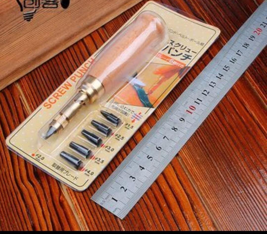 スクリューポンチ レザーパンチ 穴あけ工具 6サイズセット レザークラフト工具