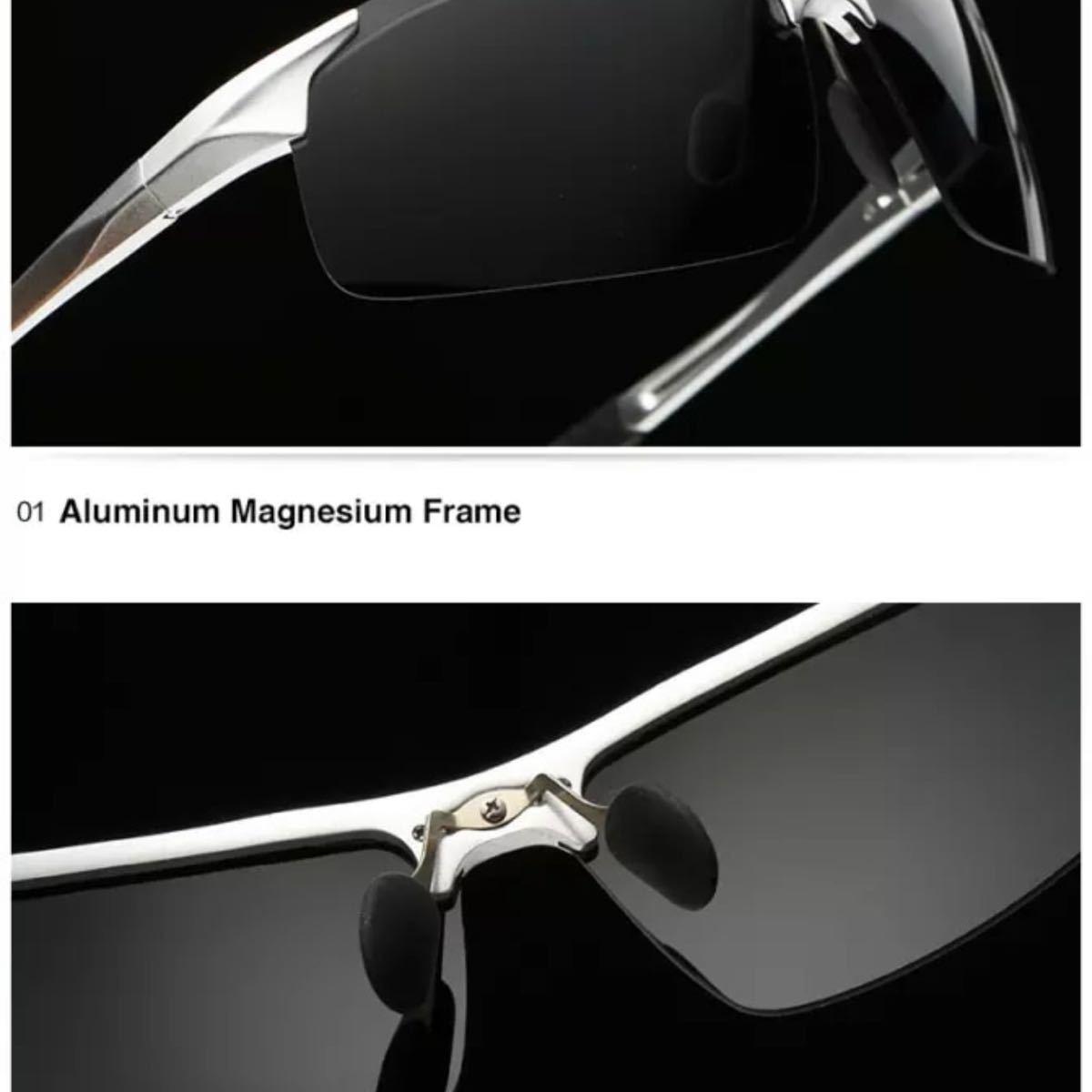 AORON スポーツ偏光サングラス グリーンミラーレンズ グレーアルミニウム合金フレーム