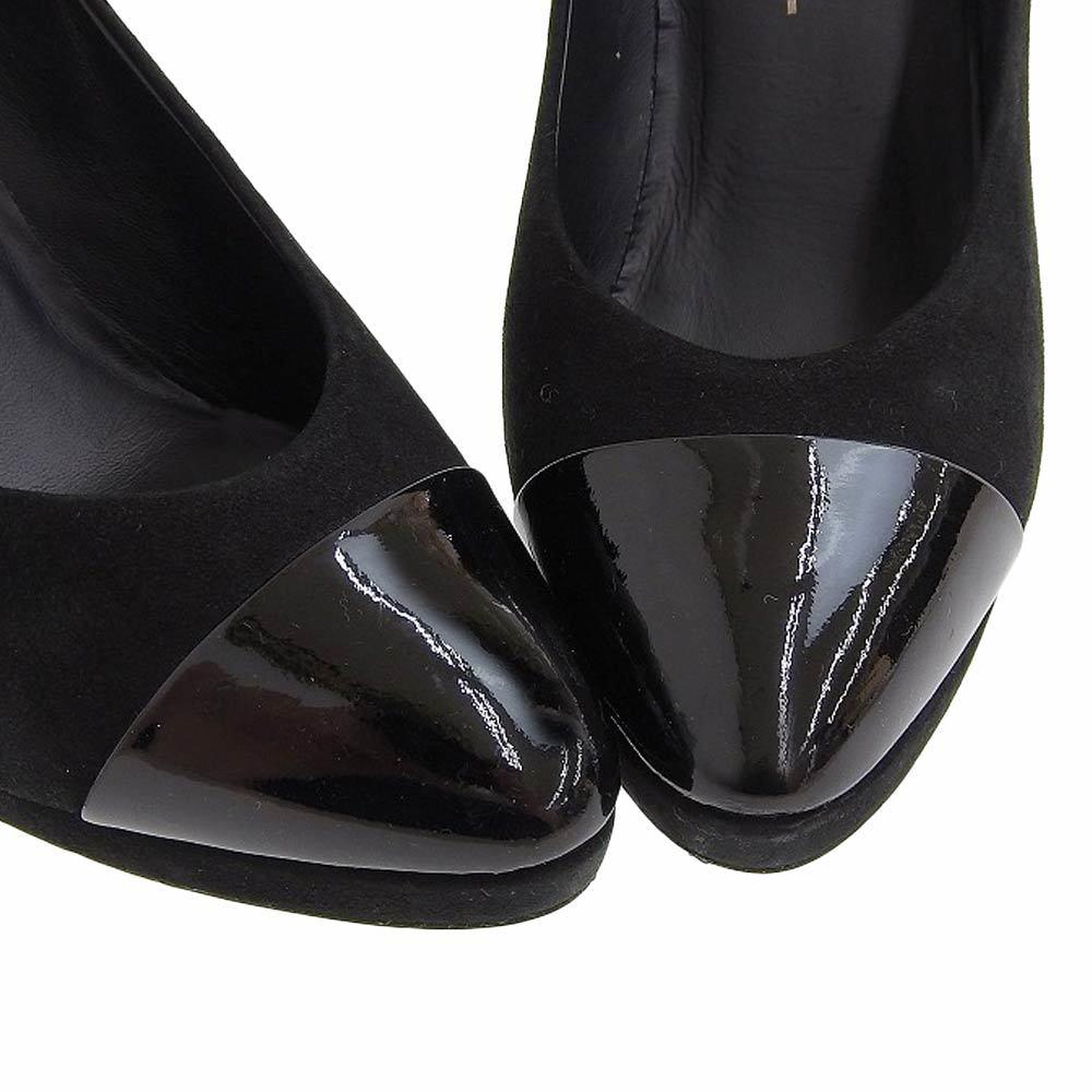 【本物保証】 美品 シャネル CHANEL パンプス ヒール ココマーク スエード 黒 サイズ37C ロゴ 靴 レディース_画像3
