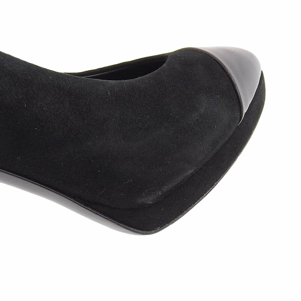 【本物保証】 美品 シャネル CHANEL パンプス ヒール ココマーク スエード 黒 サイズ37C ロゴ 靴 レディース_画像6
