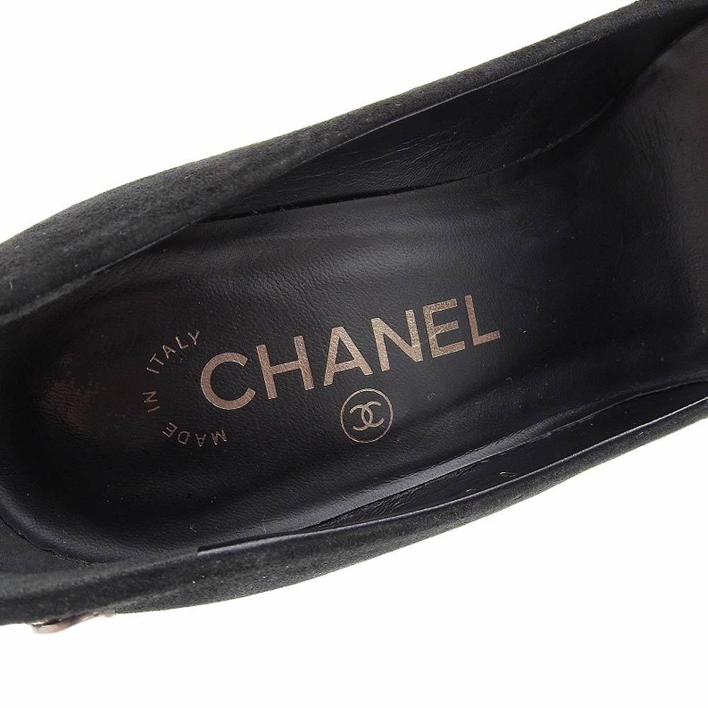 【本物保証】 美品 シャネル CHANEL パンプス ヒール ココマーク スエード 黒 サイズ37C ロゴ 靴 レディース_画像7
