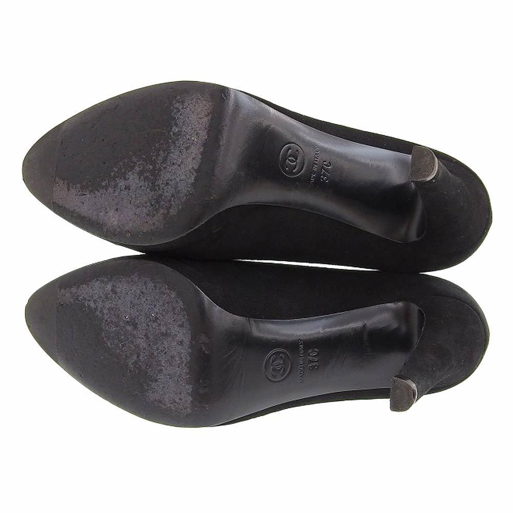 【本物保証】 美品 シャネル CHANEL パンプス ヒール ココマーク スエード 黒 サイズ37C ロゴ 靴 レディース_画像5