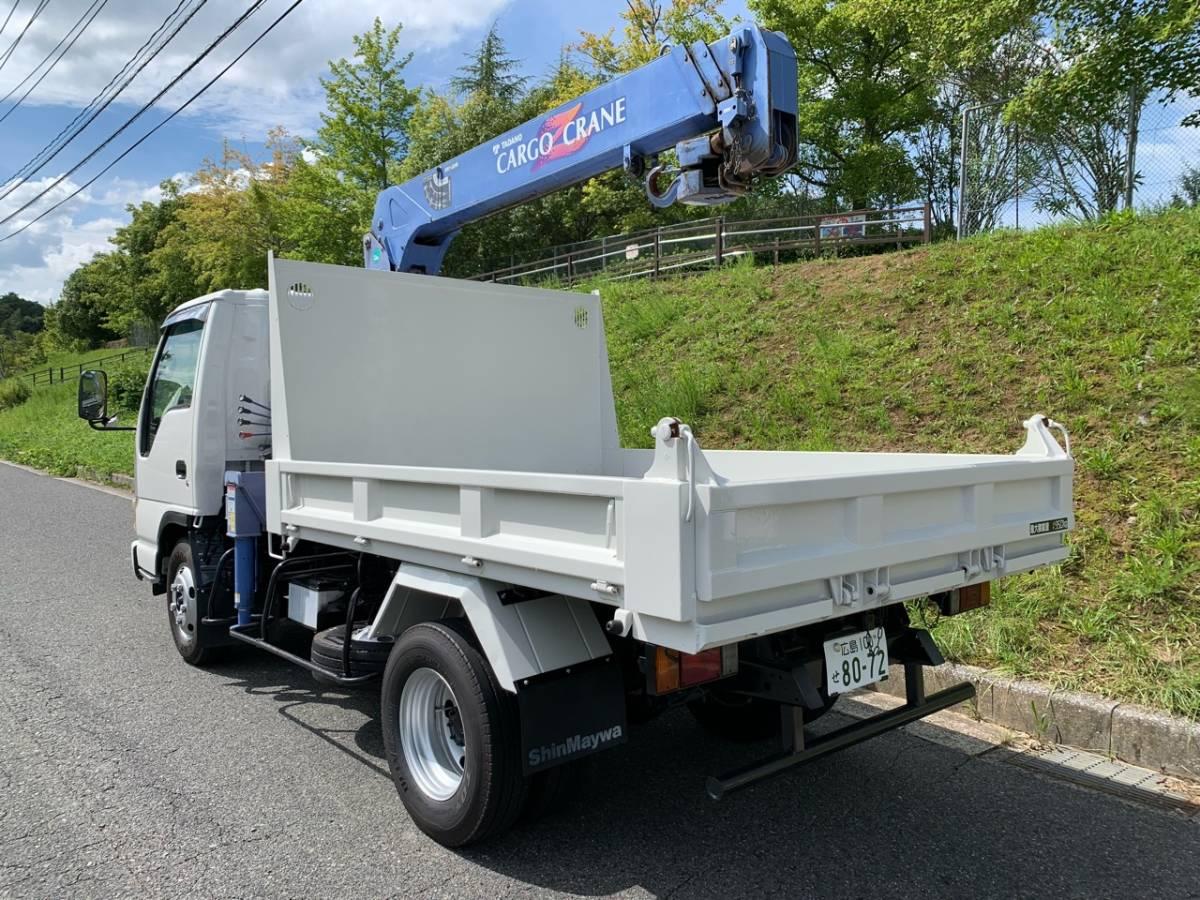 「平成8年 いすゞ エルフ NEWエルフ 2t ワイド ダンプ 3段クレーン フックイン 車検付き 無事故 低走行」の画像2