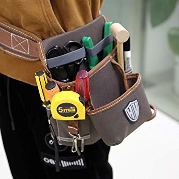 ブラウン HV 2段タイプ腰袋 13x24x26CM ベルト付き 工具バッグ ツールポーチ ウエスト 差し入れ 仕切り 電工 大_画像6