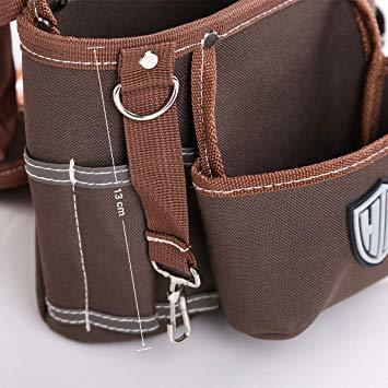 ブラウン HV 2段タイプ腰袋 13x24x26CM ベルト付き 工具バッグ ツールポーチ ウエスト 差し入れ 仕切り 電工 大_画像3