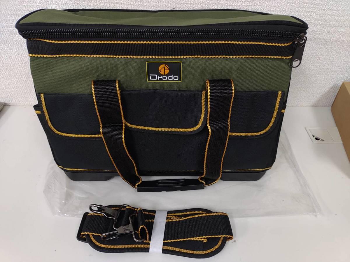 39s2402 Drado ツールバッグ 工具バッグ 工具袋 道具袋 工具差し入れ 肩掛けベルト付き 42㎝×23㎝×28㎝_画像1