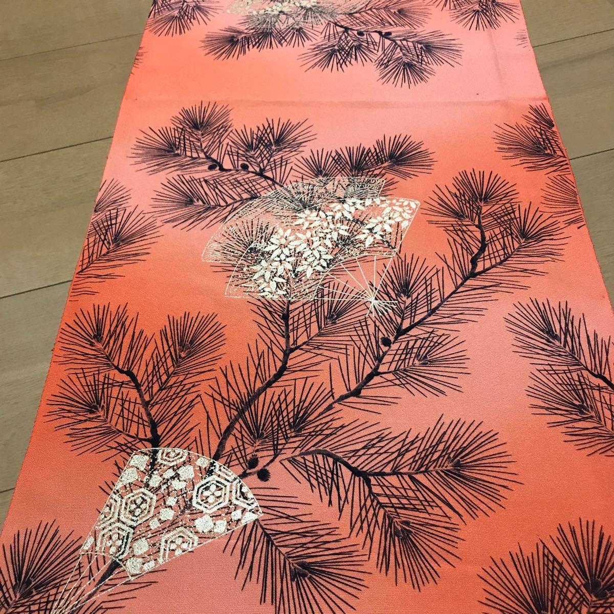 ★着物ハギレ 松扇金彩ぼかし 橙★ 126 古布 アンティーク ちりめん パッチワーク 正絹 はぎれ