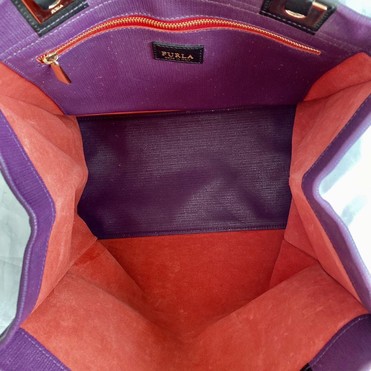美品 FURLA フルラ トートバッグ ハンドバッグ ショルダーバッグ 肩掛け ブランドロゴ 金具 ゴールド レザー 本革 イタリア製 パープル _画像6