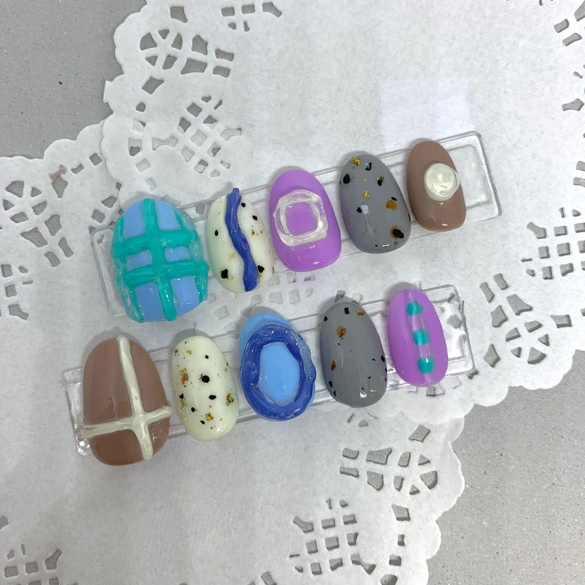 ネイルチップ 付け爪 ハンドメイド  韓国 ポップ カラフルネイル ポップネイル ぷくぷくネイルネイルチップ 付け爪