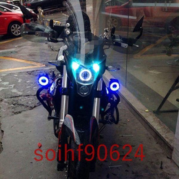 soK42:12V 125W オートバイ ヘッド ライト LED アイズ スポット ランプ 6000 6500k フォグ バイク_画像6