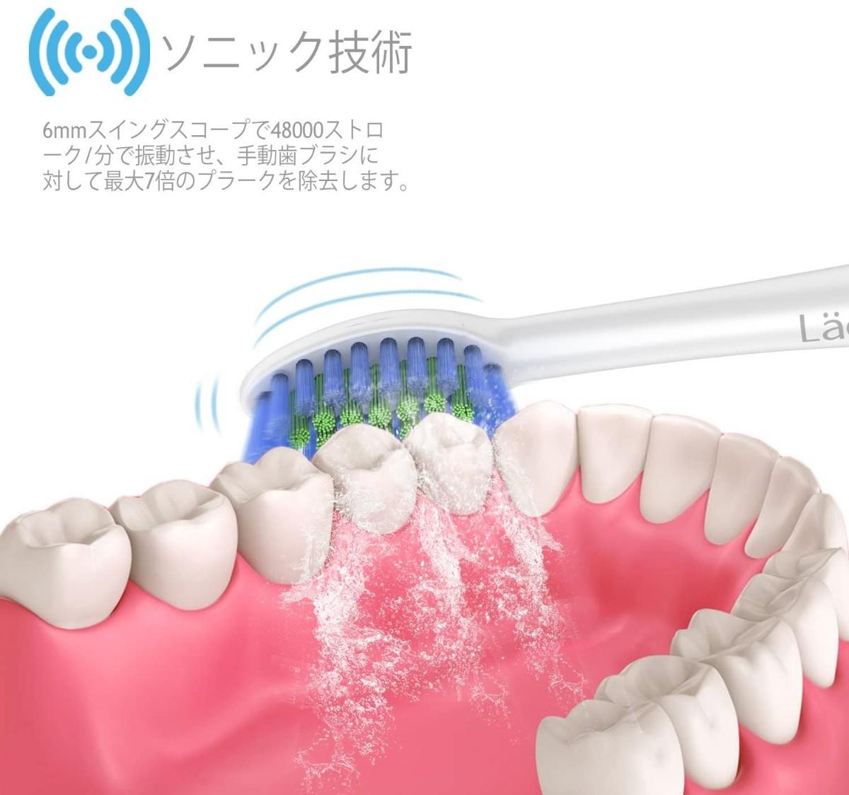 超音波電動歯ブラシ強度設定 USB充電式 高速充電 口腔ケア 防水 IPX7