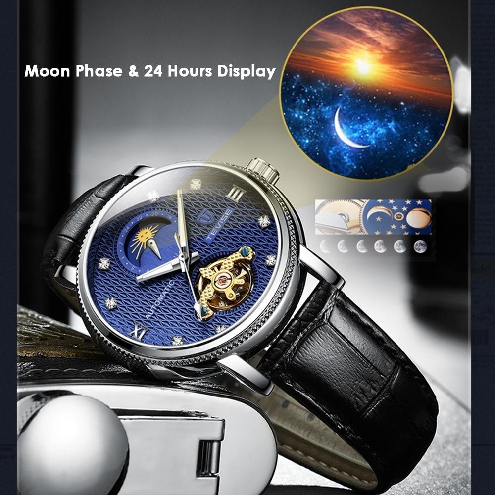 【送料無料】メンズ高級腕時計 機械式 自動巻 トゥールビヨン ムーンフェイズ表示 本革ベルト 紳士 ビジネス 夜光 防水 ブラック*_画像2