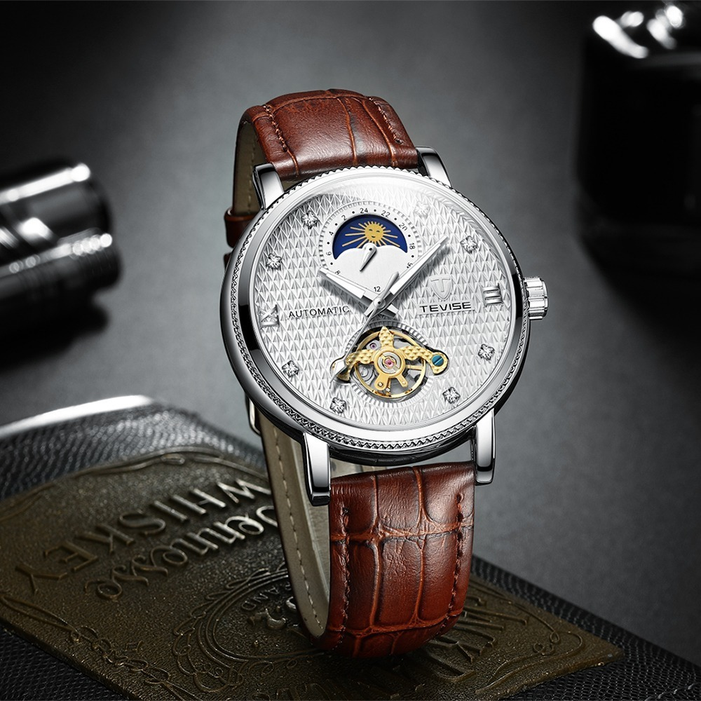【送料無料】メンズ高級腕時計 機械式 自動巻 トゥールビヨン ムーンフェイズ表示 本革ベルト 紳士 ビジネス 夜光 防水 ブラック*_画像3